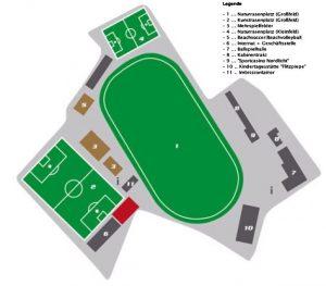 Sportforum Jaegerpark mit Legende
