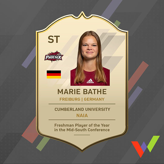 Women's College Soccer at Cumberland University - From Germany to the USA - Freshman Player of the Year